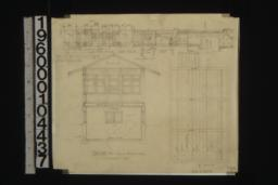 Detail of sleeping porch showing section through wall; section thro' sleeping porch and laundry; plan of ceiling :7.