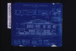 Front (east) elevation ; interior details -- section thro' fireplace, west side of living room, west side of dining room, stairs, north side of dining room, west side of den, north side of den, looking west in hall (2nd floor), looking south in hall (2nd floor) :Sheet no. 5.
