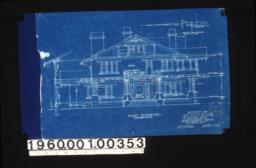 East elevation with section through wall\, section thru pergola showing wall beam :Sheet no. 5. (2)