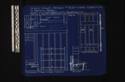 1 1/2 inch scale details of seat and bookcases in living room\, and batten doors -- plan\, section\, and elevation of seat and bookcases; details of batten doors in front and side elevations :Sheet 6.