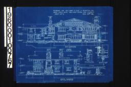 """West elevation\, inch scale detail section thro' """"E-E""""\, section at """"A-A""""; south elevation\, detail drawing of splice of 12"""" x 12"""" over post :Sheet No. 5\, (2)"""