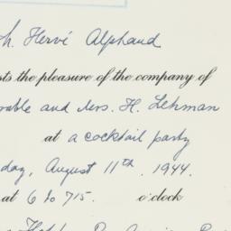Invitation: 1944 August 11