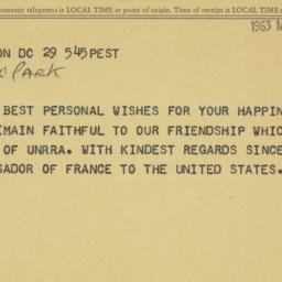 Telegram: 1963 March 29