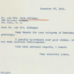 Letter: 1941 December 27