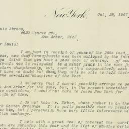 Letter: 1907 October 28