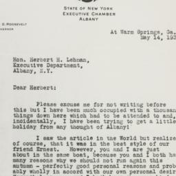 Letter: 1930 May 14