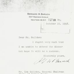 Letter: 1958 October 10