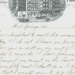 Avenue Hotel. Letter