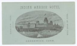 Indian Harbor Hotel. Letter - Recto