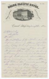 Union Pacific Hotel. Letter - Recto