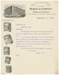 Berdan & Company. Letter - Recto