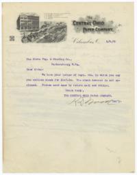 Central Ohio Paper Company. Letter - Recto