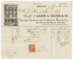 Aaron A. Colter & Co.. Bill - Recto