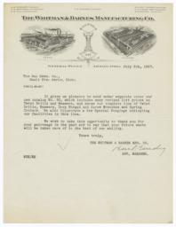 Whitman & Barnes Manufacturing Co.. Letter - Recto