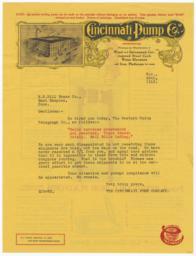 Cincinnati Pump Co.. Letter - Recto