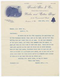 Frankel Bros. & Co.. Letter - Recto