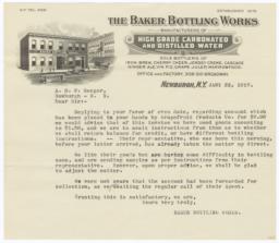 Baker Bottling Works. Letter - Recto