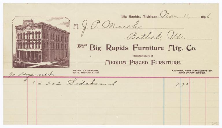 Big Rapids Furniture Manufacturing Co.. Bill