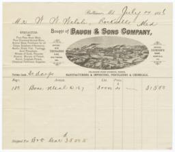 Bauch & Sons Company. Bill - Recto