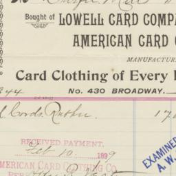American Card Clothing Co.....