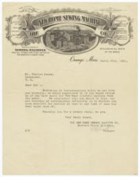 New Home Sewing Machine Co.. Letter - Recto