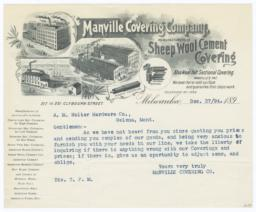 Manville Covering Co.. Letter - Recto