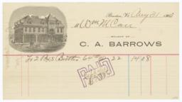 C. A. Barrows. Bill - Recto