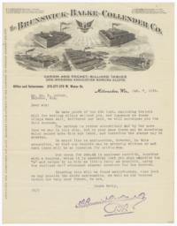 Brunswick-Balke-Collender Co.. Letter - Recto