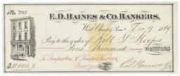E. D. Haines & Co. Bankers. Check - Recto