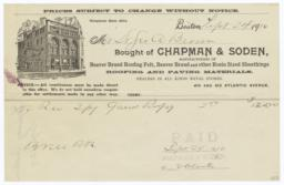 Chapman & Soden. Bill - Recto