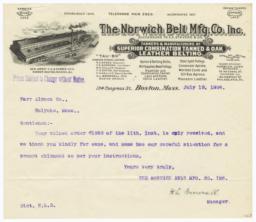Norwich Belt Mfg. Co. Inc.. Letter - Recto