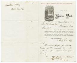 Boston Post. Letter - Recto