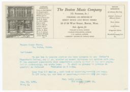 Boston Music Company. Letter - Recto