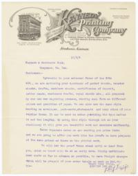Kennedy Printing Company. Letter - Recto