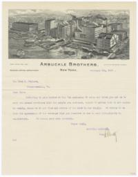 Arbuckle Bros.. Letter - Recto