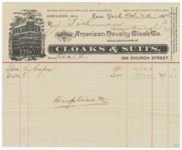 American Novelty Cloak Co.. Bill - Recto