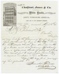 Chalfant, Jones & Co.. Letter - Recto
