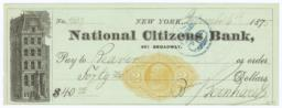 Citizens National Bank of New York. Check - Recto