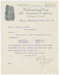 Williamsburgh City Fire Insurance Company. Letter - Recto