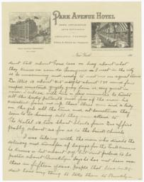 Park Avenue Hotel. Letter - Recto
