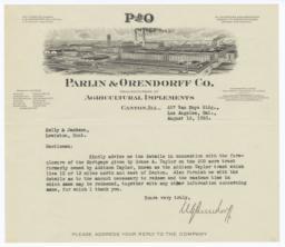 Parlin & Orendorff Co.. Letter - Recto