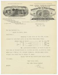 American Net & Twine Company. Letter - Recto