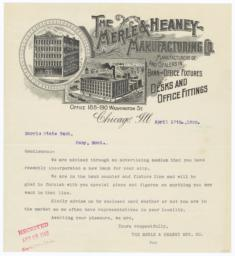 Merle & Heaney Manufacturing Co.. Letter - Recto