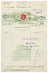 Chicago Label Box Company. Bill - Recto