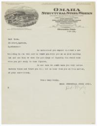 Omaha Structural Steel Works. Letter - Recto