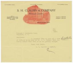 S. H. Clausin & Company. Letter - Recto