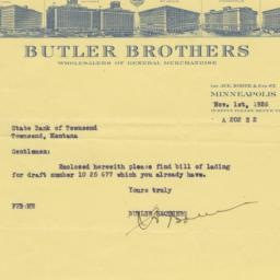 Butler Brothers. Letter