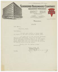 Simmons Hardware Company. Letter - Recto