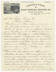 Yerkes & Finan Wood Working Machine Co.. Letter - Recto