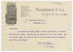 Walbridge & Co.. Letter - Recto